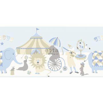 behang rand circus figuren lichtblauw, beige en wit
