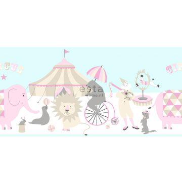 behang rand circus figuren licht roze, lichtblauw en beige