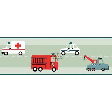 behang rand auto's, brandweerauto's, helikopters en kranen mintgroen