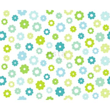 stof bloemen limegroen