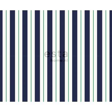 stof strepen marine blauw en groen