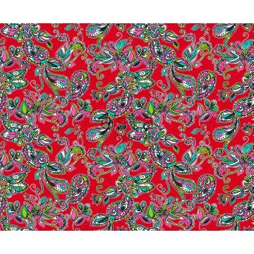 stof funky flowers en paisleys rood