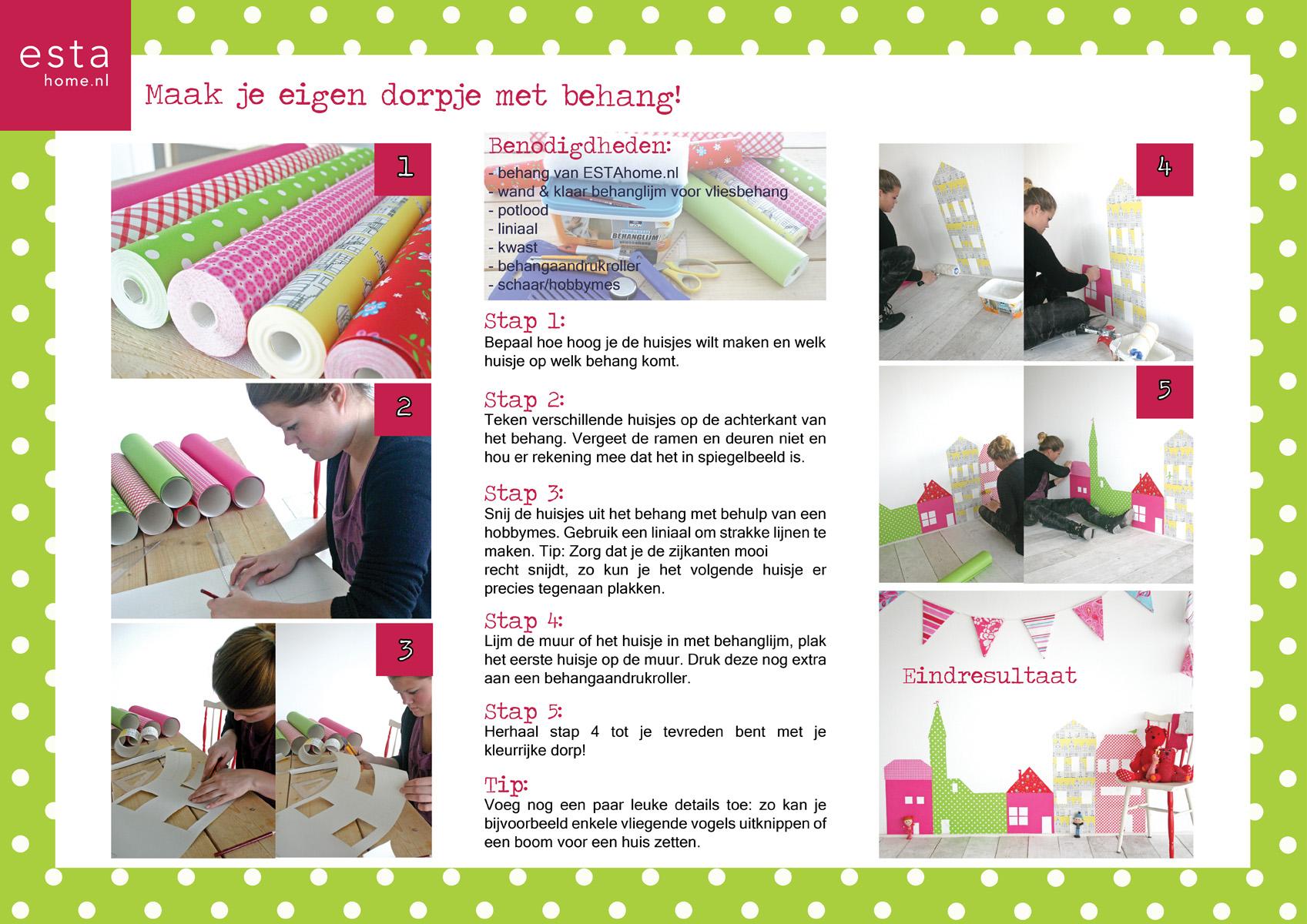 DIY maak je eigen behangdorpje van behang ESTAhome.nl